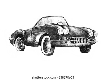 Retro sport car  cabriolet ink drawing