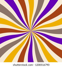 retro starburst or sunburst background pattern with a vintage color palette of purple yellow red gray and beige white in a spiral or swirled radial striped design