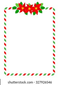 Retro striped candycane frame with poinsettia flowers on top middle isolated on white