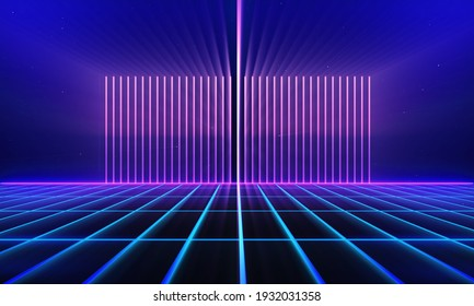 Retro style 80s Sci-Fi Background Futuristic with laser grid landscape. Digital cyber surface style of the 1980`s. 3D illustration. For banner