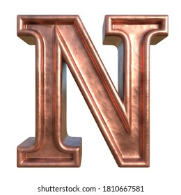 Retro style alphabet. Letter N. Collection of brushed copper symbols. Isolated in white background. 3D rendering.