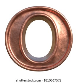 Retro style alphabet. Letter O. Collection of brushed copper symbols. Isolated in white background. 3D rendering.