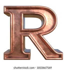 Retro style alphabet. Letter R. Collection of brushed copper symbols. Isolated in white background. 3D rendering.