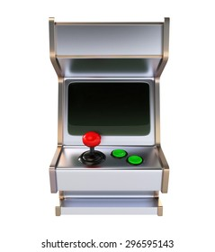 Retro Style Arcade Game Machine with Black Screen. Front View