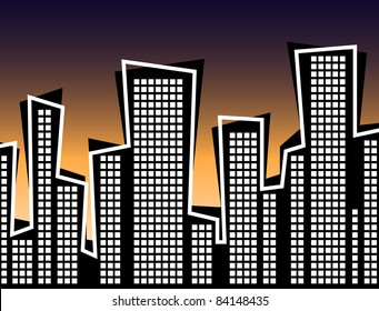 Retro Style City at Sunset Illustration - High Resolution JPEG Version (vector version also available.)