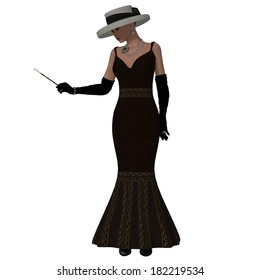 Retro Style Dress - A woman dressed in a brown fashion dress and hat from the 1960s.