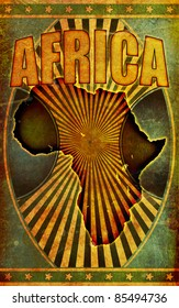 A retro style, grunge poster illustration with the word Africa in bold title lettering and a silhouette graphic of the African continent.
