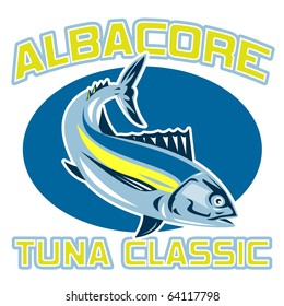 "retro style illustration of an albacore tuna diving with words ""albacore tuna classic"""
