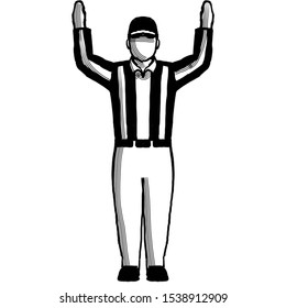 Retro style illustration of an American football referee or official with hand signal showing touchdown sign on isolated background done in black and white.