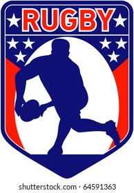 "retro style illustration of a rugby player passing ball viewed from front with shield in background and words ""rugby"""