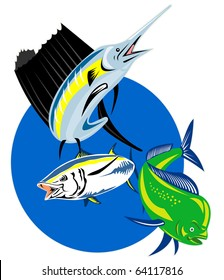 retro style illustration of a Sailfish, dorado dolphin fish or mahi-mahi and yellow fin tuna