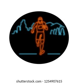 Retro style illustration showing a 1990s neon sign light signage lighting of a male marathon runner running with buildings and mountains in background black oval on isolated background.