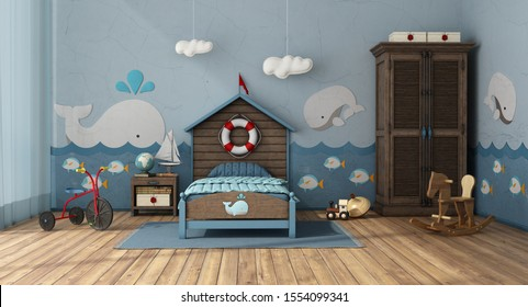 Retro style kids room in marine style with songle bed and toys - 3d rendering