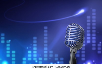 Retro style microphone 3D picture