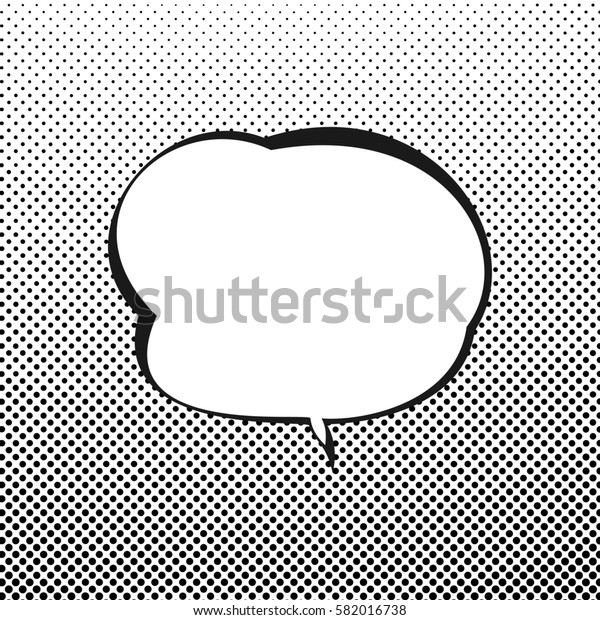 Retro Style Speech Bubble, Speech Bubble on Halftone Background, White Background with Black Dots ,Gradient Down Up