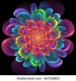 Retro style symmetrical colorful floral design with whorled spiral petals in blended color gradients of pink, purple, green, orange and yellow on a black background