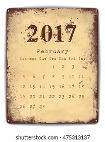 A retro style tin and enamel signboard with monthly calendar for February 2017.