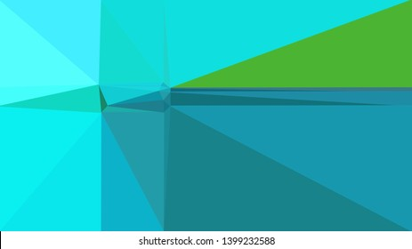 retro style triangle illustration. light sea green, bright turquoise and lime green colors. for poster, cards, wallpaper design or backdrop texture.