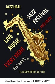 Retro styled Jazz festival Poster. Abstract style  illustration.