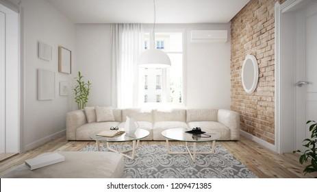 Retro styled loft apartment interior - 3 d render