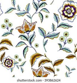 Retro stylized flower pattern - illustration