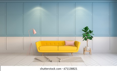 Retro and summer interior  living room style , yellow sofa with pink lamp on white and blue wall .3drender