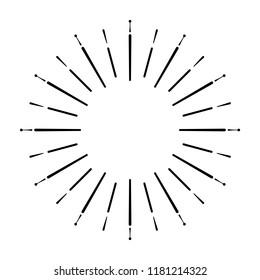 Retro Sun burst shape. Vintage logo, label, badge. Design elements isolated. Minimal black firework burst.
