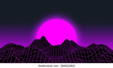 Retro Synthwave neon landscape. 80's style. Virtual geometric mountains.