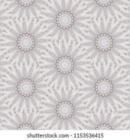 Retro, tan  symmetrical sun pattern on white background. Abstract design, illustration for wallpaper, fabric, print, wrapping paper