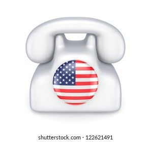 Retro telephone with american flag.Isolated on white background.3d rendered.