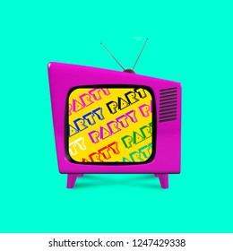 Retro television illustration on color background.