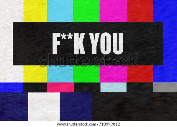 Retro Television Test Pattern Censored Vulgar Stock Illustration