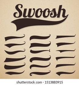 Retro texting tails. Swooshes swishes, swooshes and swashes for vintage baseball typography
