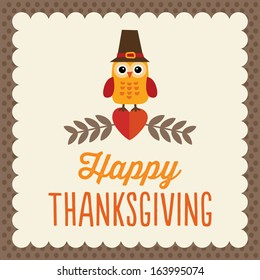 Retro Thanksgiving Day card design with cute owl in Pilgrim hat on brown textured background.