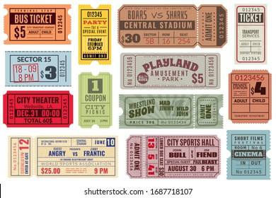 Retro tickets. Vintage cinema ticket concert and festival event, movie theater coupon. Circus show, raffle paper voucher carnival invite or train ticketing set