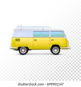 Retro travel camper van. Vehicle for travel, stylish hipster yellow bus with a surfboard on the roof. Vintage hippie van, isolated on a transparent background, 3D illustration.