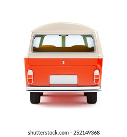 retro travel van in cartoon style, back view, isolated on white