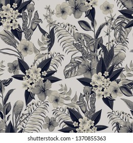 retro tropical flowera and leaves design. exotic seamless pattern background.