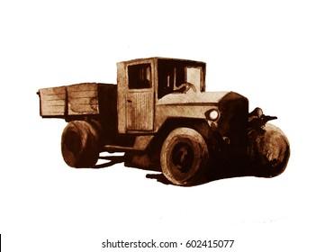 Retro truck, sepia,  world war two, hand drawn watercolor illustration