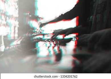 Retro turntables illustration with stereo effect.Professional dj turn table device in night club on stage.Vintage vinyl disc player in double exposure.Hands of hip hop deejay scratching records