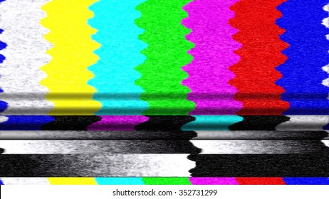 Retro TV color bars malfunction with TV snow and pixelation.