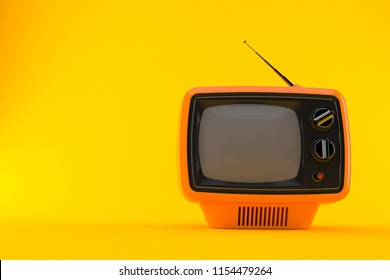 Retro TV isolated on orange background. 3d illustration