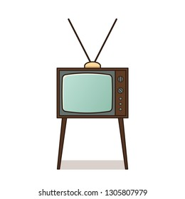 Retro TV. Vintage television set isolated. Icon in line art flat design. House equipment 1960s, 1970s. Illustration on white background.