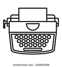 Retro typewriter icon. Outline retro typewriter icon for web design isolated on white background