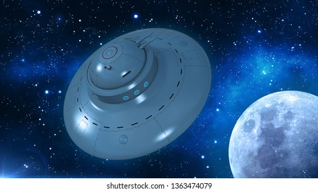 Retro UFO Spaceship, flying saucer in deep space, vintage spacecraft flying in the Universe with planet and stars, top view, 3D rendering