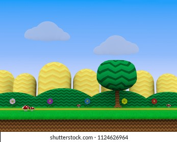 Retro Video game backgrounds - 3D Illustrations