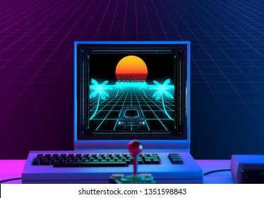 Retro videogame on a 1980's computer in neon light blue and violet - retrowave concept - 3D rendering