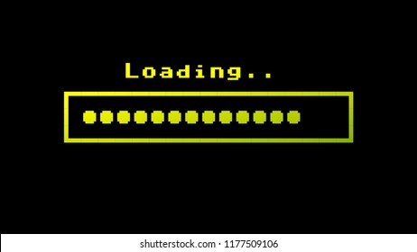 Retro vintage 8-bit computer loading text with a progress bar made of round dots, with color hue (shift) from green to yellow.
