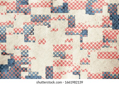 retro vintage abstract patchwork background  on grungy paper