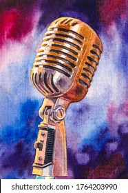 Retro or vintage microphone for studio  sound reproduction or recording. Watercolor painting.
